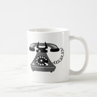 Funny Retro Black Dots Phone Simple Cartoon Cool Coffee Mug