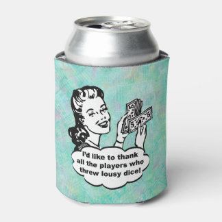 Funny Retro Bunco Player Watercolor Can Cooler