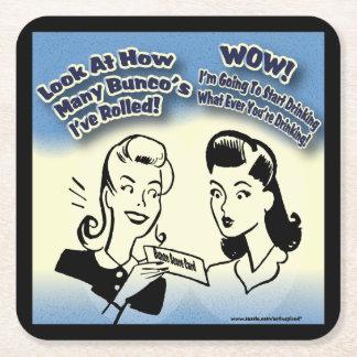 Funny Retro Bunco Women Square Paper Coaster