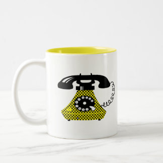 Funny Retro Cartoon Phone Stylish Vintage Unique Two-Tone Coffee Mug