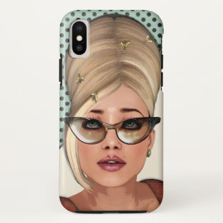 Funny Retro Chic Fashion Beehive Hairstyle iPhone X Case