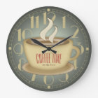 Funny Retro Coffee Time Custom Colour Large Clock