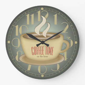 Funny Retro Coffee Time Custom Colour Wall Clock