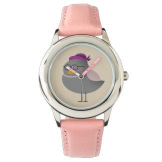 Funny Retro Fashion Bird Chic Lady with Glasses Watch