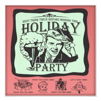 Funny Retro Holiday Party! 5.25x5.25 Square Paper Invitation Card