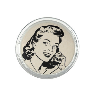 Funny Retro Housewife on Vintage Telephone Photo Ring