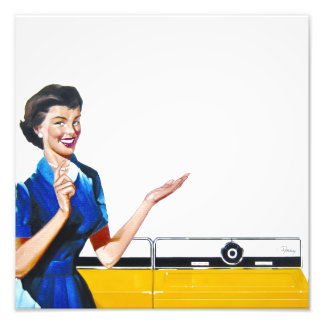 Funny Retro Housewife with Washing Machine Photo Print