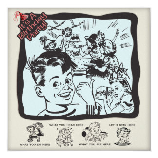 Funny Retro Kids Birthday Party 5.25x5.25 Square Paper Invitation Card