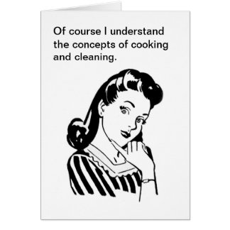 Funny Retro Mother's Day Card Cooking and Cleaning