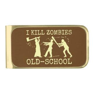 Funny Retro Old School Zombie Killer Hunter Gold Finish Money Clip