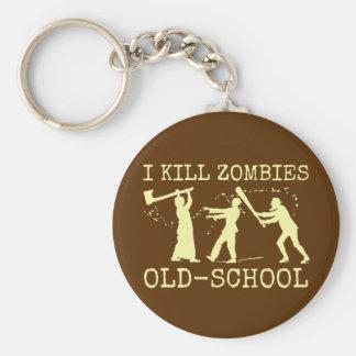 Funny Retro Old School Zombie Killer Hunter Keychain