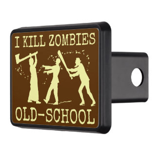 Funny Retro Old School Zombie Killer Hunter Trailer Hitch Cover