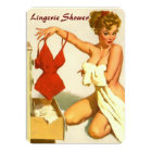 Funny retro pin up lingerie shower card