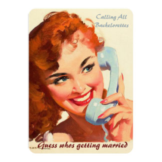 Funny retro pin up wedding gossip card