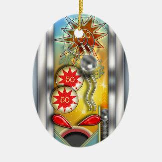 Funny Retro Pinball Machine Personalized Ceramic Ornament