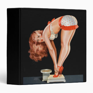 Funny retro pinup girl on a weight scale binders