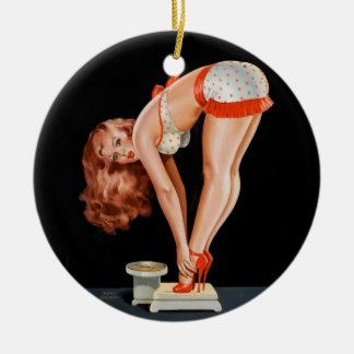 Funny retro pinup girl on a weight scale ceramic ornament