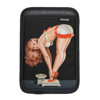 Funny retro pinup girl on a weight scale iPad mini sleeve