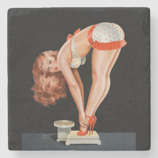 Funny retro pinup girl on a weight scale stone beverage coaster