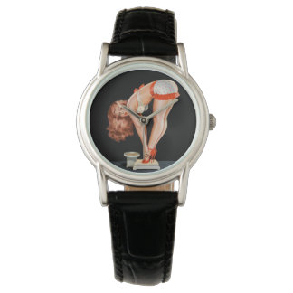 Funny retro pinup girl on a weight scale watch
