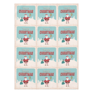 Funny retro Santa Claus with Christmas gifts Tablecloth
