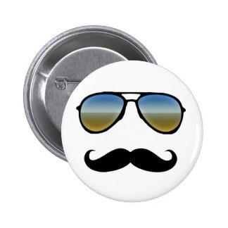 Funny Retro Sunglasses with Moustache 2 Inch Round Button