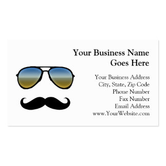 Funny Retro Sunglasses with Moustache Business Card Template