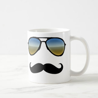 Funny Retro Sunglasses with Moustache Classic White Coffee Mug