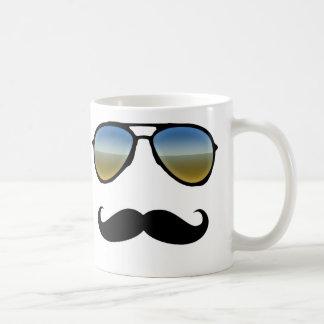 Funny Retro Sunglasses with Moustache Classic White Coffee Mug