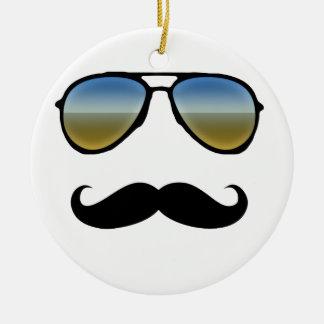 Funny Retro Sunglasses with Moustache Round Ceramic Ornament