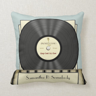 Funny Retro Vintage Classic Vinyl Record Throw Pillow