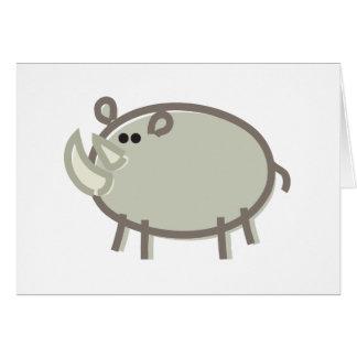 Funny Rhinoceros on White Card