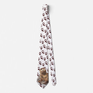 Funny River Otter & Footprints, Tracks Watercolor Tie