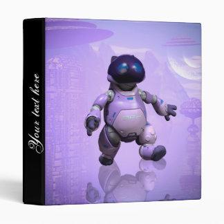 Funny robot cat vinyl binder