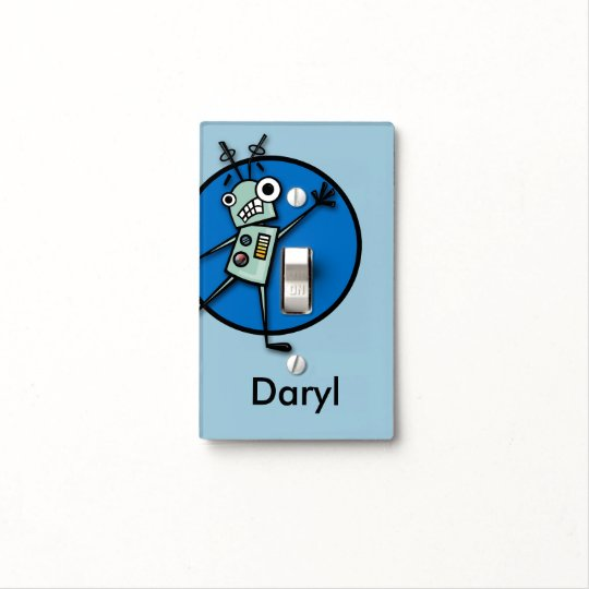 FUNNY ROBOT ILLUSTRATION LIGHT SWITCH COVER
