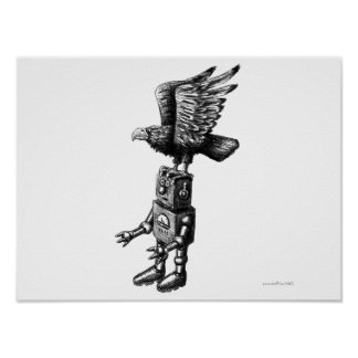 Funny robot with eagle ink pen drawing art poster