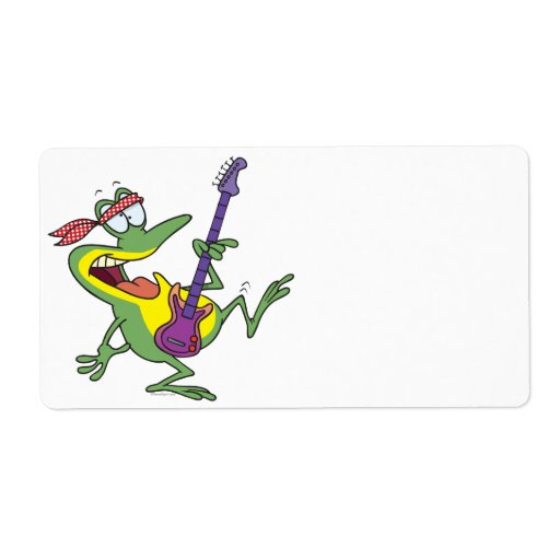 funny rock and roll bass guitar froggy frog personalized shipping label