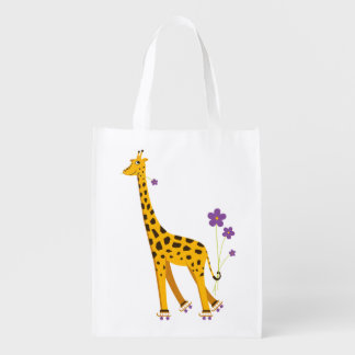 Funny Roller Skating Cartoon Giraffe Reusable Grocery Bags