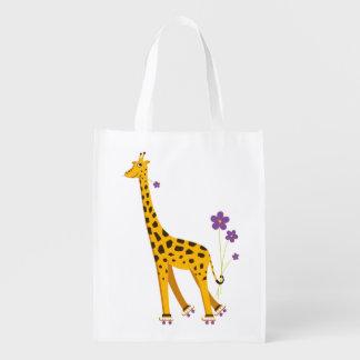 Funny Roller Skating Cartoon Giraffe Grocery Bag