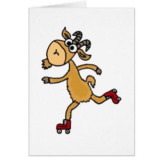 Funny Roller Skating Goat Scapegoat Card