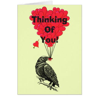 Funny romantic crow thinking of you card