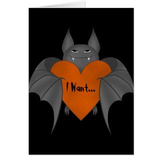 Funny romantic Halloween vampire bat Card