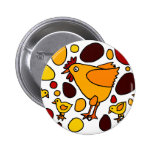Funny Rooster and Chickens Art Abstract 2 Inch Round Button