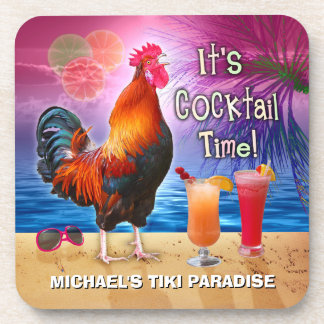 Funny Rooster Chicken Cocktail Tropical Beach Name Drink Coasters