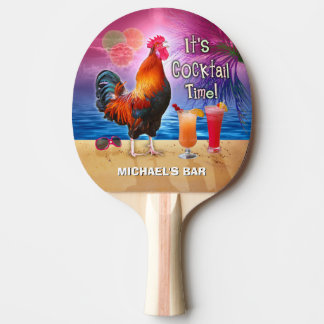 Funny Rooster Chicken Cocktail Tropical Beach Name Ping Pong Paddle