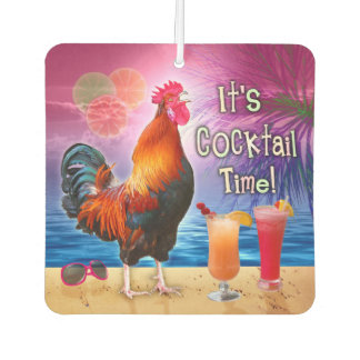 Funny Rooster Chicken Cocktails Tropical Beach Sea Air Freshener