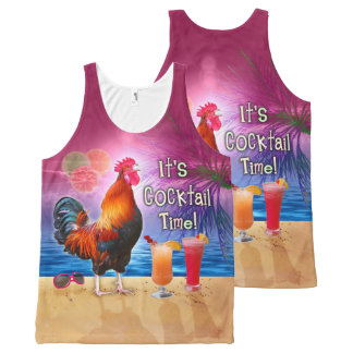 Funny Rooster Chicken Cocktails Tropical Beach Sea All-Over-Print Tank Top