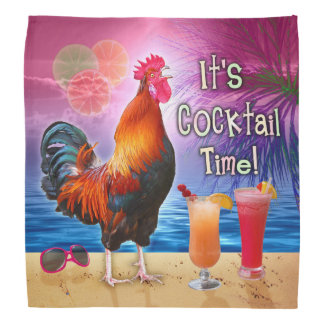 Funny Rooster Chicken Cocktails Tropical Beach Sea Bandana