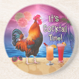 Funny Rooster Chicken Cocktails Tropical Beach Sea Beverage Coasters