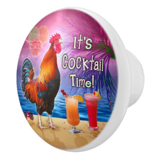 Funny Rooster Chicken Cocktails Tropical Beach Sea Ceramic Knob